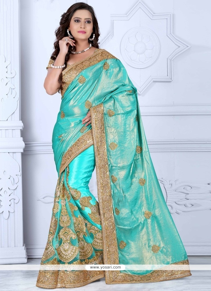 Stupendous Resham Work Chiffon Satin Designer Saree