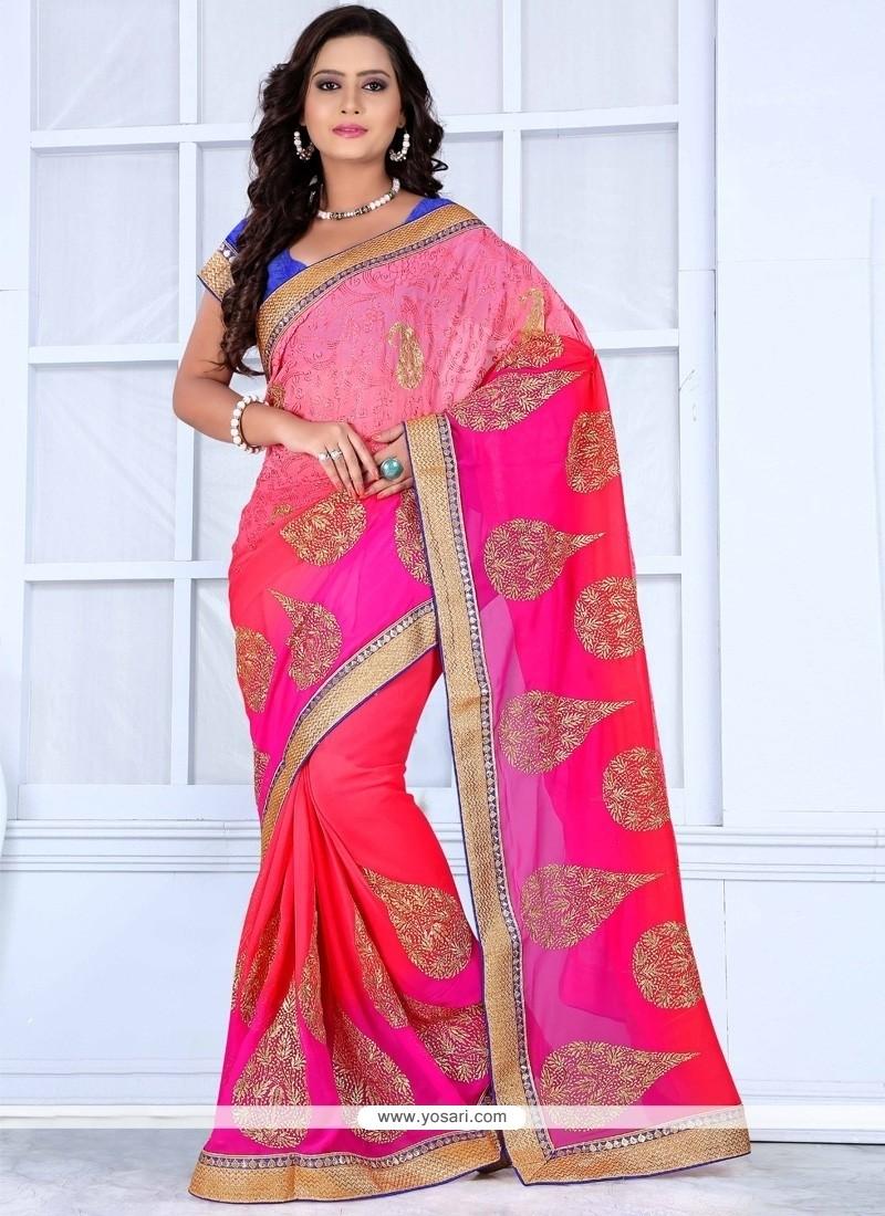 Angelic Resham Work Purple And Pink Designer Saree