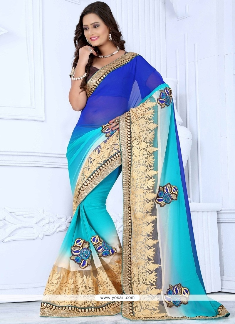 Nice Blue And Cream Resham Work Net Designer Saree