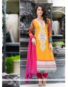 Mustard And Magenta Pure Georgette Churidar Suit