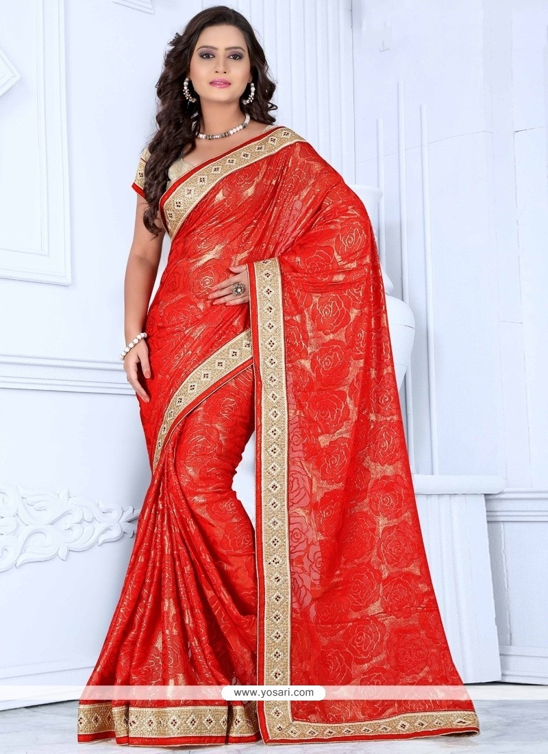 Lovable Red Zari Work Net Designer Saree