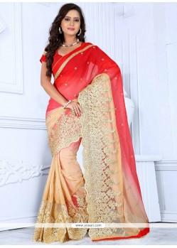 Lustrous Beige And Red Zari Work Net Designer Saree