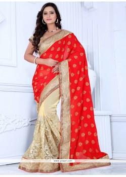 Cute Resham Work Red And Beige Net Designer Saree