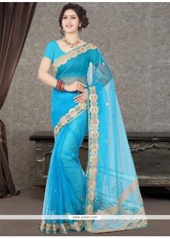 Miraculous Turquoise Designer Saree