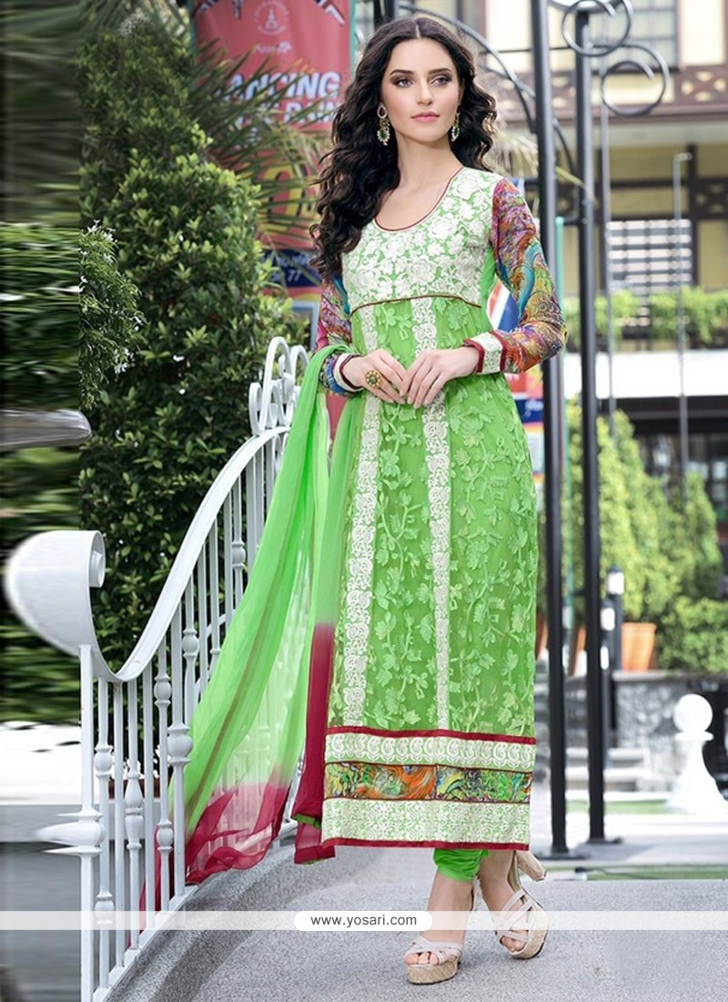 Angelic Green Embroidery Work Churidar Suit