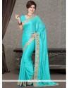Eye-catchy Satin Turquoise Resham Work Designer Saree