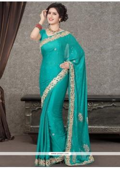 Striking Satin Resham Work Designer Saree