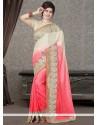Luscious Cream And Hot Pink Designer Saree