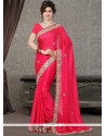 Sterling Hot Pink Resham Work Satin Designer Saree