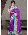 Sophisticated Satin Purple Designer Saree