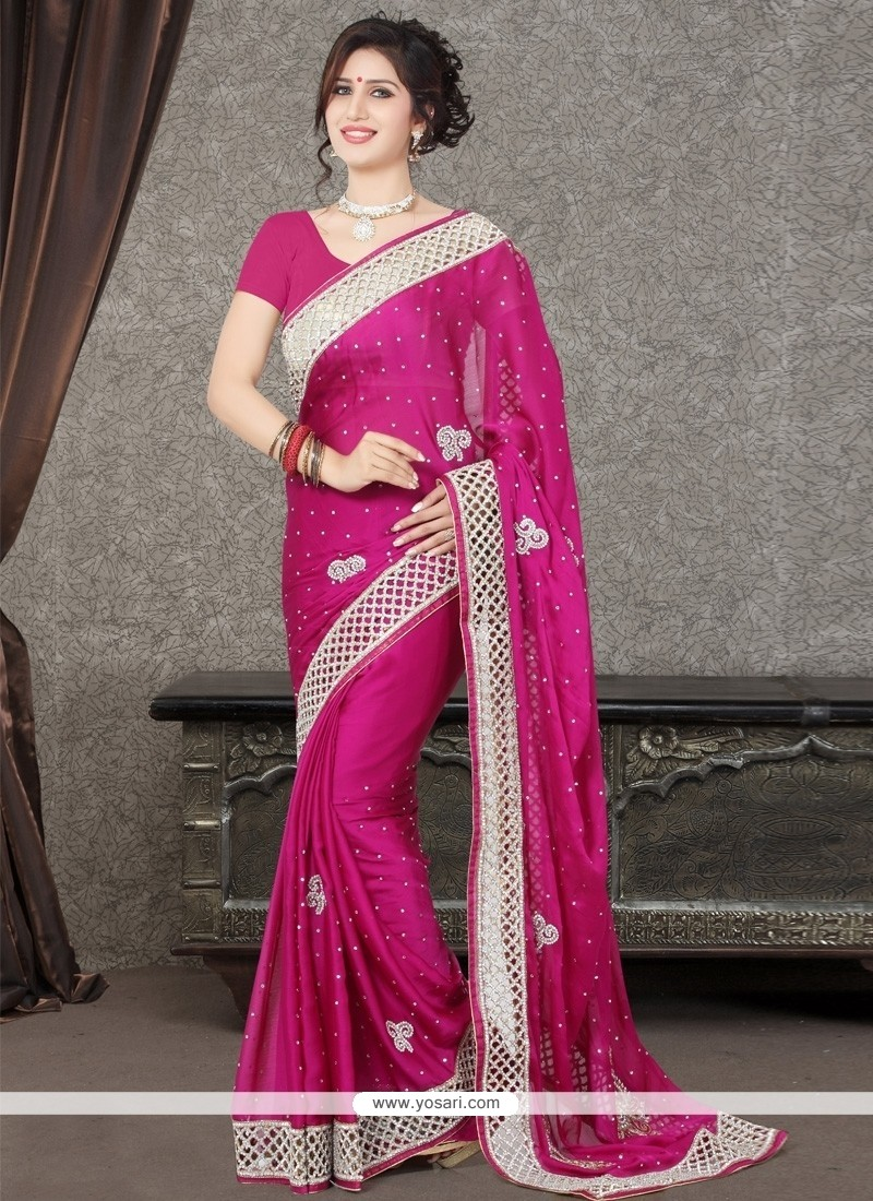 Princely Magenta Resham Work Designer Saree