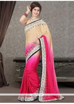 Modest Satin Cream And Hot Pink Designer Saree