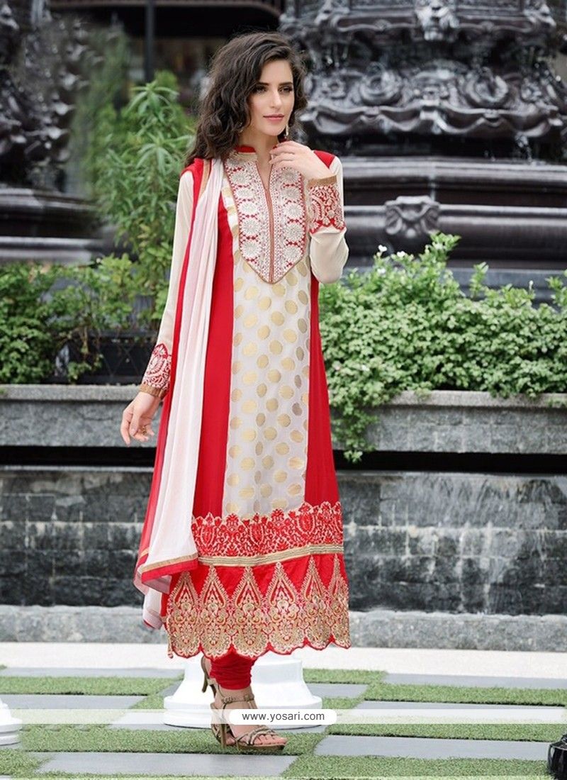 Off White And Red Pure Georgette Churidar Suit