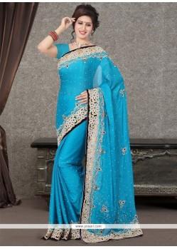 Modernistic Patch Border Work Satin Designer Saree