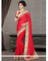 Princely Red Satin Designer Saree