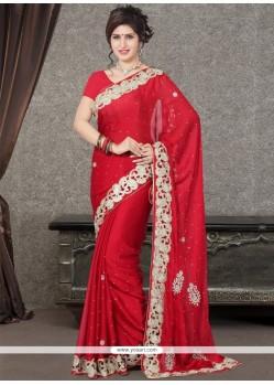 Versatile Red Designer Saree