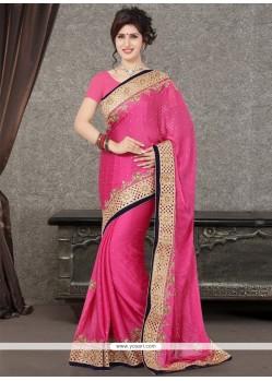 Specialised Patch Border Work Satin Designer Saree