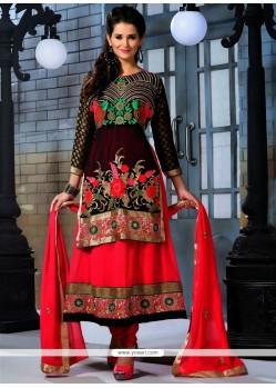 Black And Hot Pink Georgette Anarkali Suit