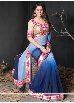 Customary Blue Lace Work Georgette Designer Saree