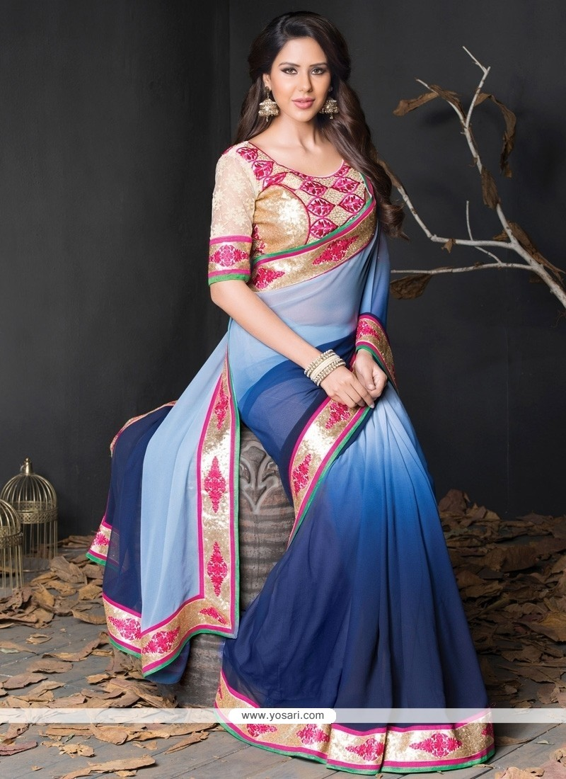 Customary Blue Lace Work Georgette Designer Saree