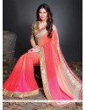 Nice Faux Chiffon Embroidered Work Designer Saree