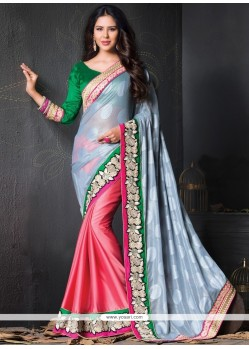 Luscious Brasso Hot Pink And Grey Resham Work Designer Saree