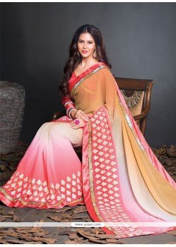 Superlative Georgette Cream And Pink Resham Work Designer Saree