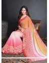 Superlative Georgette Cream And Pink Resham Work Designer Saree
