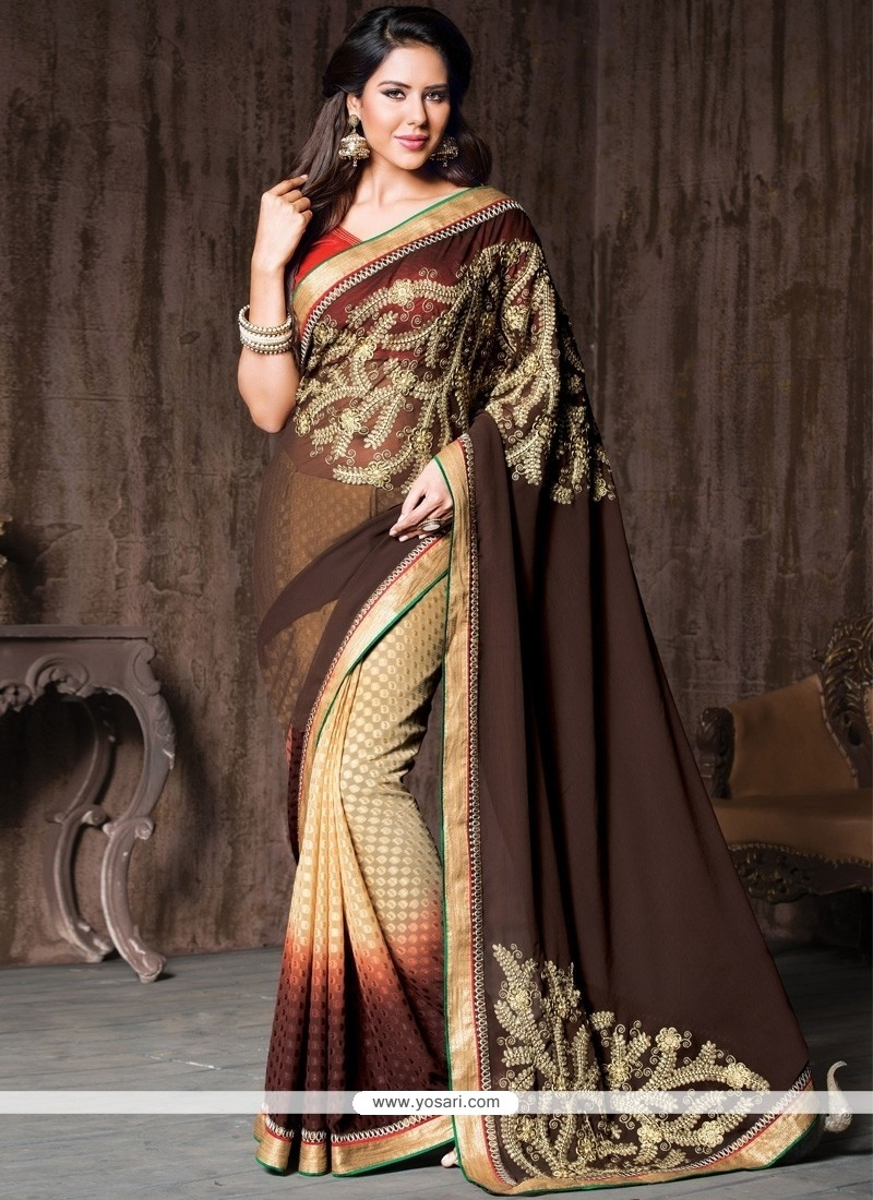 Exciting Brown Resham Work Brasso Designer Saree
