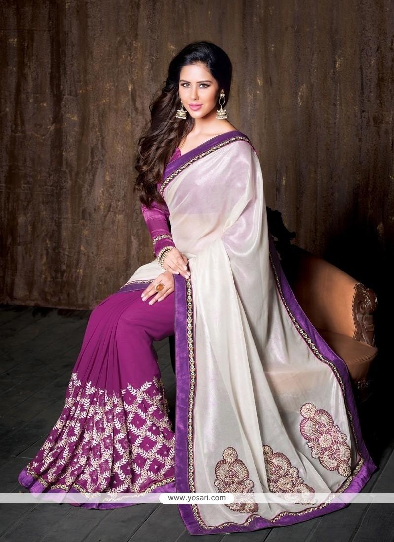 Catchy White Lace Work Georgette Designer Saree