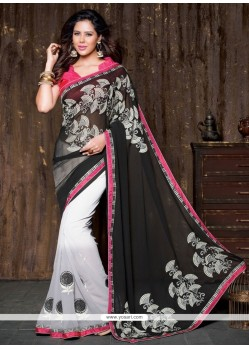 Magnetize Georgette Black And White Designer Saree