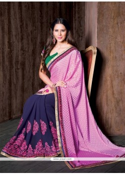 Delectable Georgette Lace Work Designer Saree