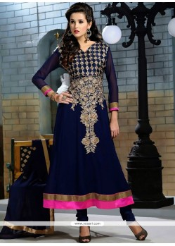 Navy Blue Embroidery Anarkali Salwar Suit