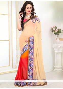 Heavenly Georgette Cream And Red Designer Saree