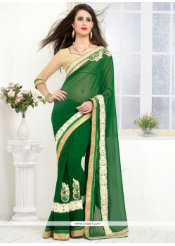 Sophisticated Lace Work Georgette Designer Saree