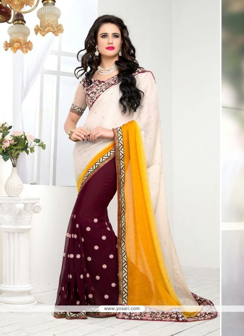 Majestic Resham Work White And Yellow Designer Saree