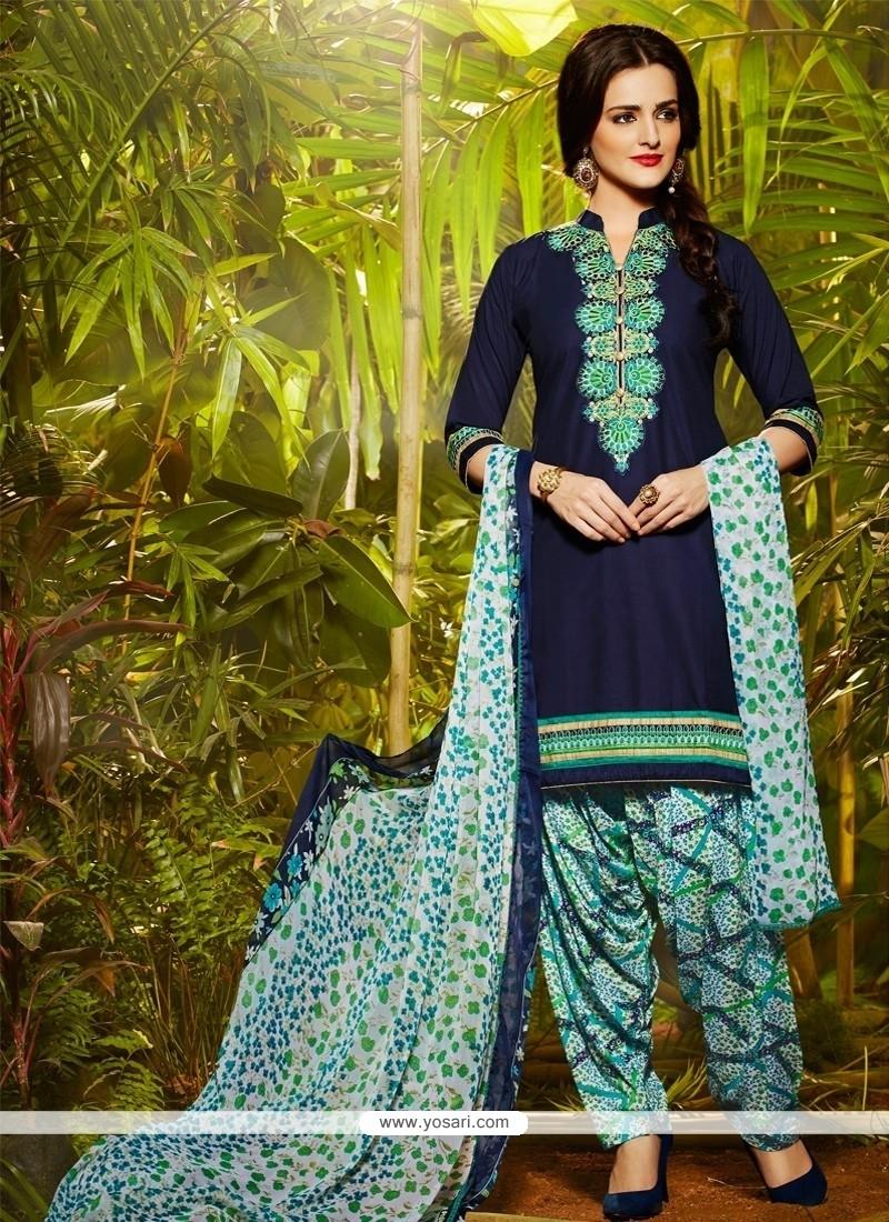 Honourable Lace Work Cotton Designer Patiala Suit