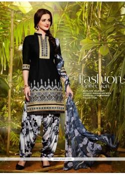Imposing Black Lace Work Cotton Designer Patiala Suit