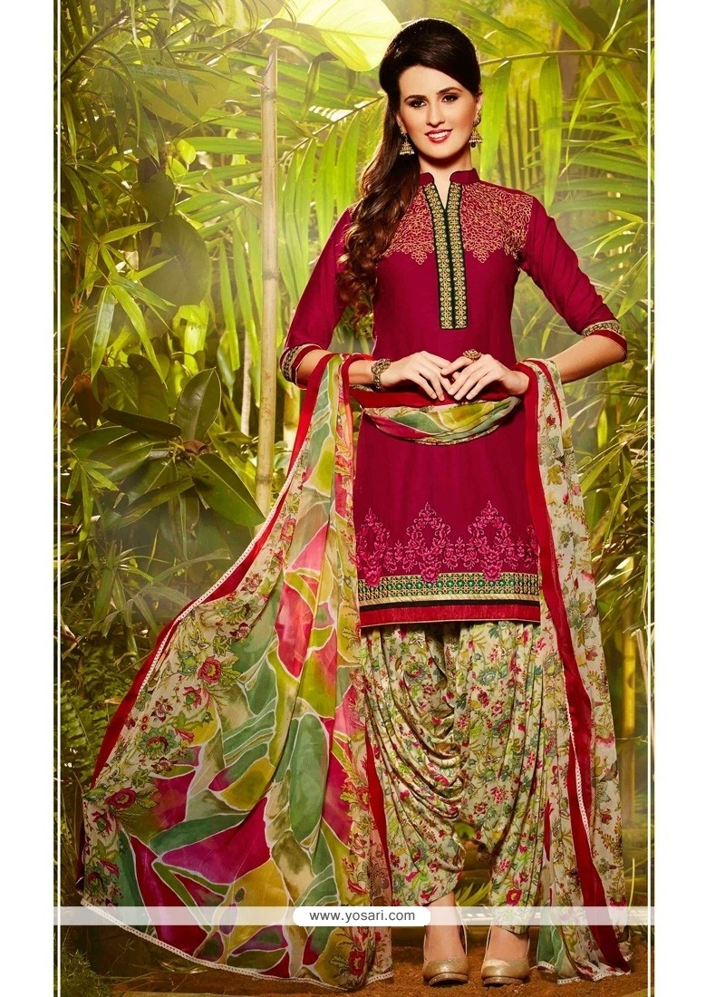 Exquisite Embroidered Work Cotton Hot Pink Designer Patiala Suit