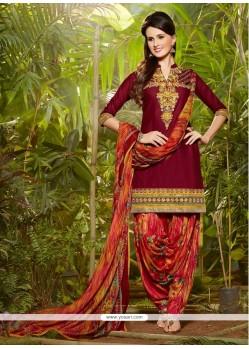 Glitzy Cotton Maroon Designer Patila Salwar Suit