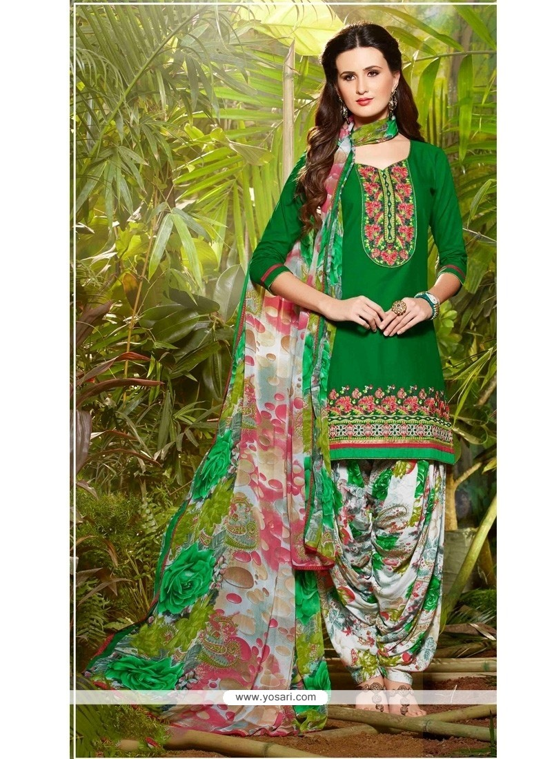 Haute Cotton Green Designer Patila Salwar Suit