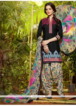 Lively Embroidered Work Cotton Black Designer Patiala Suit