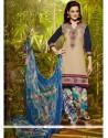 Flamboyant Embroidered Work Cream Designer Patiala Suit