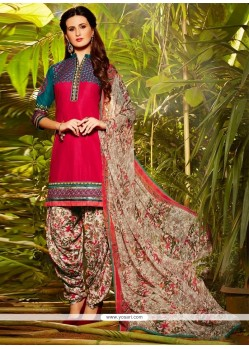 Riveting Cotton Resham Work Designer Patiala Suit