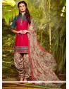 Riveting Cotton Resham Work Designer Patiala Suit