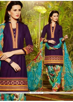 Mystical Cotton Resham Work Designer Patiala Salwar Kameez
