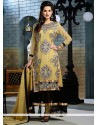Bedazzling Cream And Black Zari Anarkali Suit