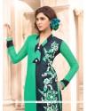 Bewildering Sea Green Resham Work Designer Suit