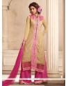 Luscious Cream And Pink Resham Work Designer Suit