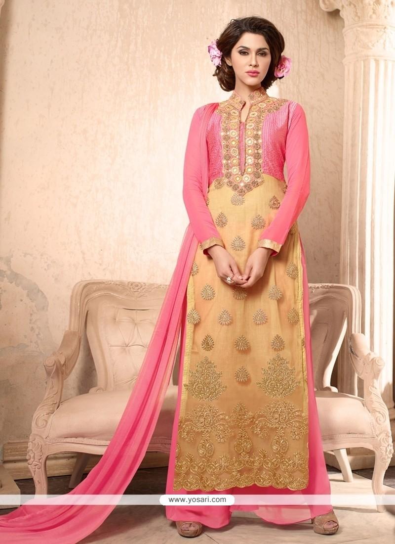 Bewildering Pink Faux Georgette Designer Suit